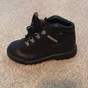 Kids black leather Timberland boots